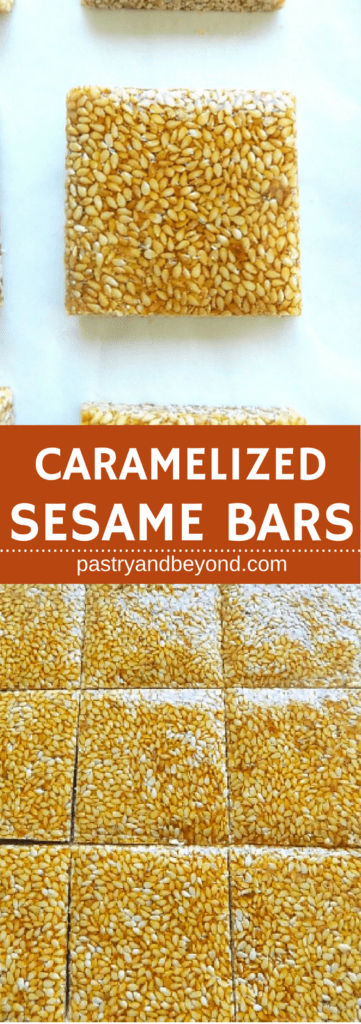 Collage for candied sesame bars with text overlay.
