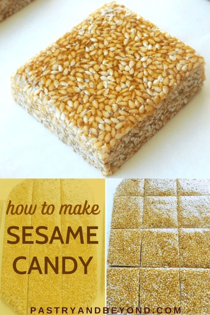Sesame candy with text overlay.