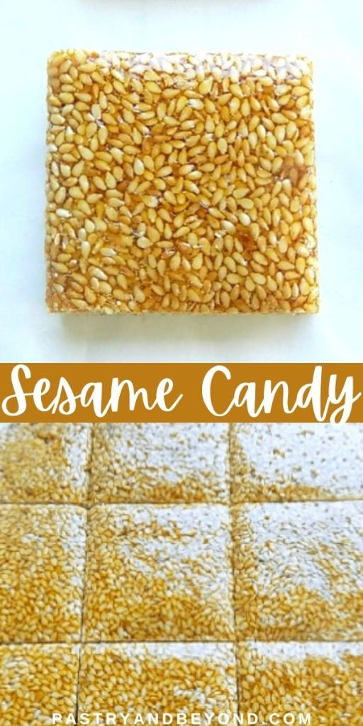 Overhead view of sesame candy bars.