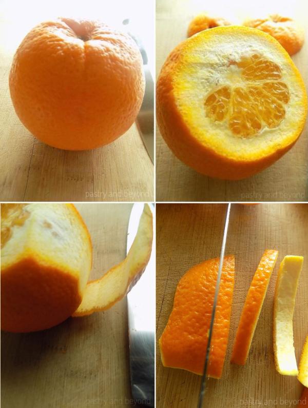 Cutting the orange peel into strips