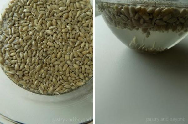 Removing salt from the sunflower seeds by placing them into a bowl that is full of water.