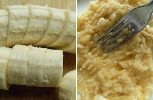 Mashing the banana with a fork.