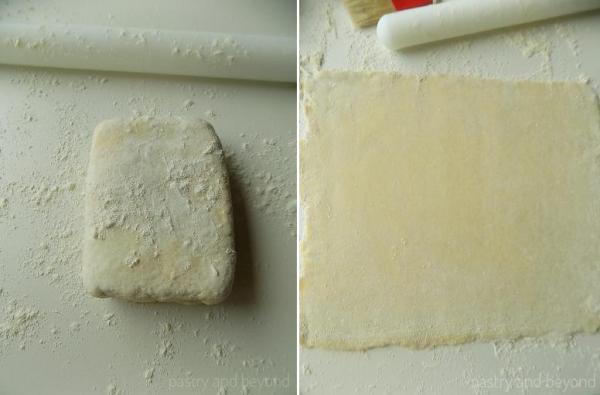 Collage for rolling out the puff pastry.