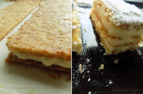 Collage of the pastry cream over the layers and powdered sugar over the third layer.