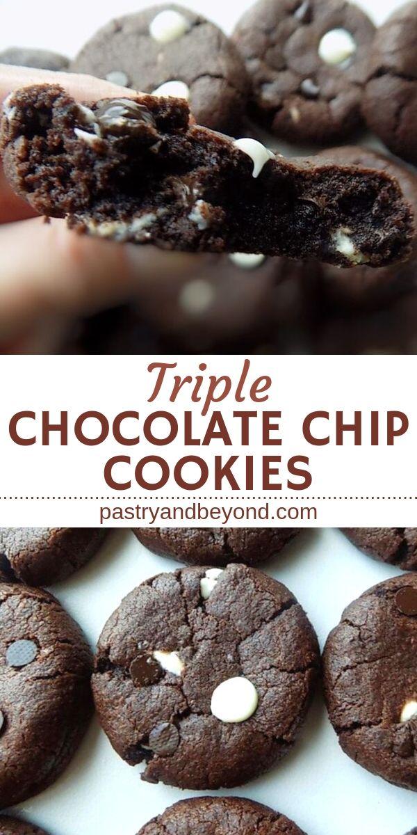 Soft Triple Chocolate Chip Cookies