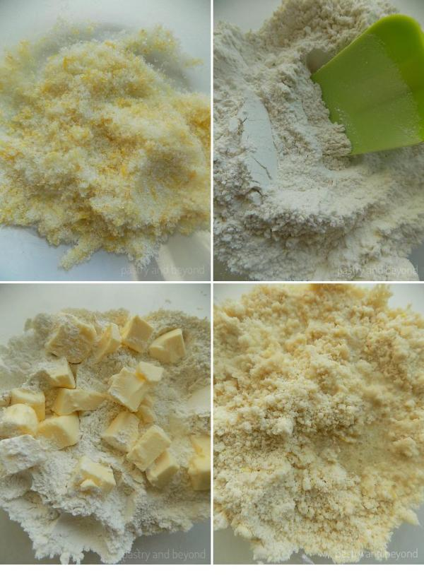 Mixing lemon and sugar, adding the flour, rubbing the butter until the mixture resembles breadcrumbs and adding the lemon juice.