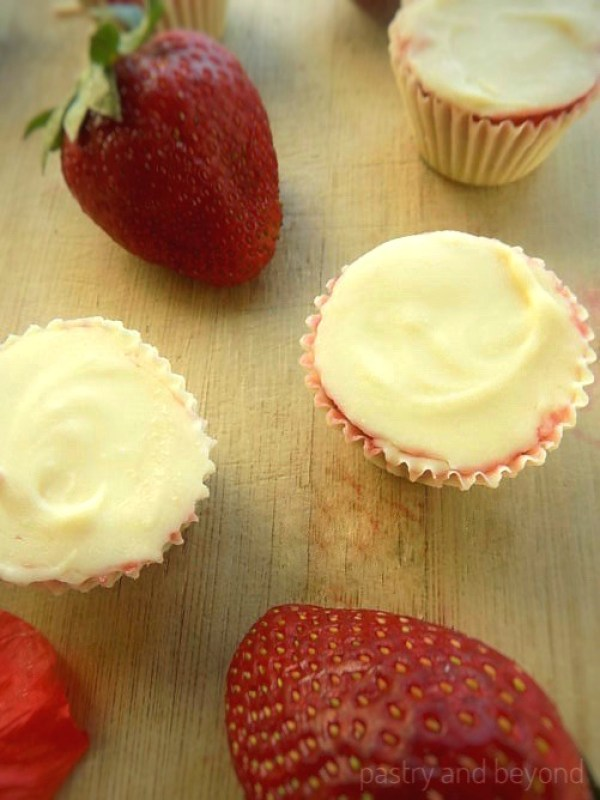 Frozen Strawberry Filled White Chocolate Cups