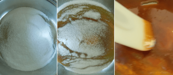 Process of caramelizing sugar: sugar in a pan in the first photo, sugar starts to melt in the second photo, stirring with a spatula the little sugar pieces and sugar totally melts in the third photo.