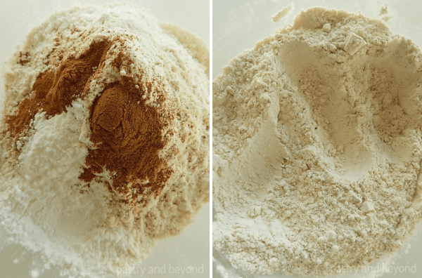 Steps of Making Soft Cinnamon Cookies: Mixing flour, cinnamon and baking powder in a bowl.