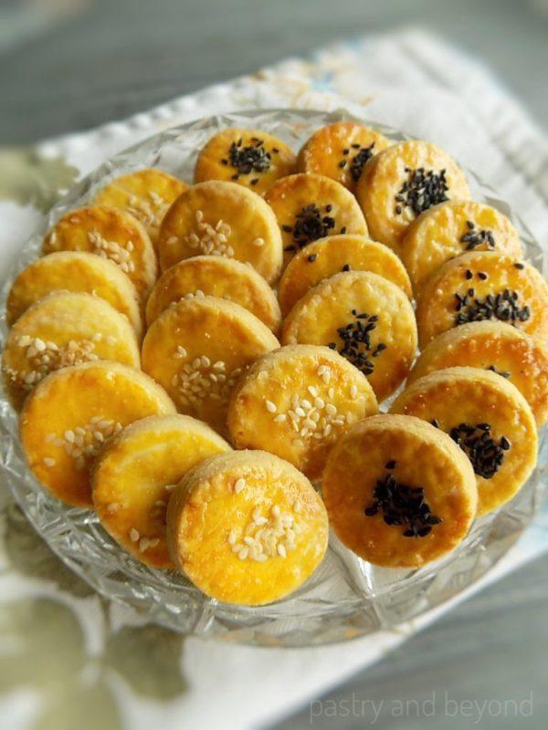 Savory Cookies on glass plate.