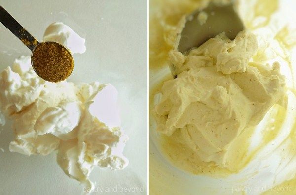 Collage of adding curry powder to the cream cheese and mixing with a spoon.
