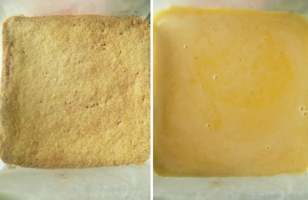 Steps of making lemon bars: Poured lemon curd mixture over baked crust.