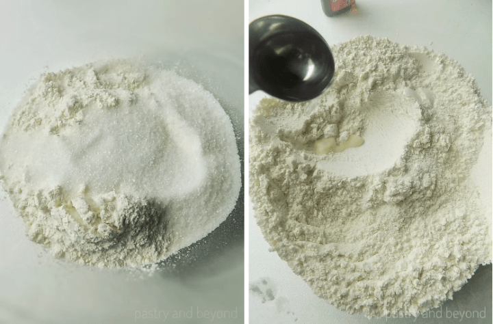 Sugar and flour in a bowl. Pouring almond extract to the mixture.