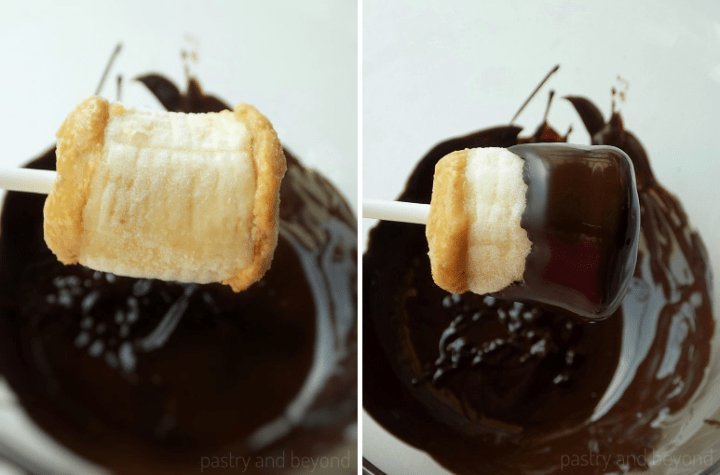 Dipping the frozen banana bites into melted chocolate.