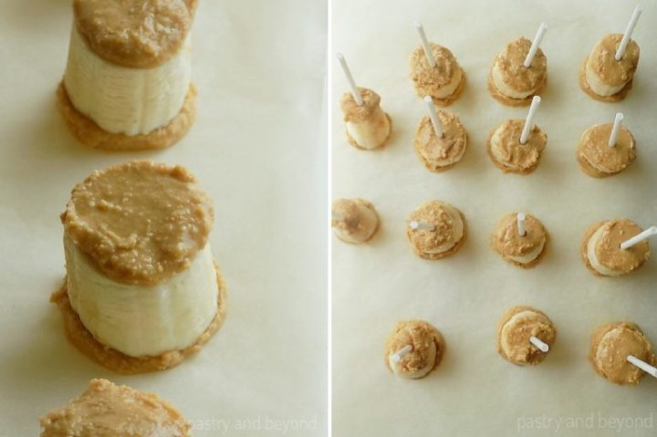 How To Make Frozen Banana Bites: Inserting the lollipop stick.