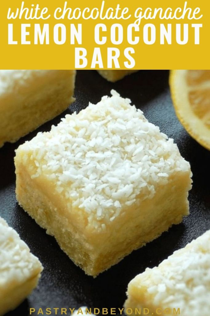 Lemon coconut bars with text overlay.