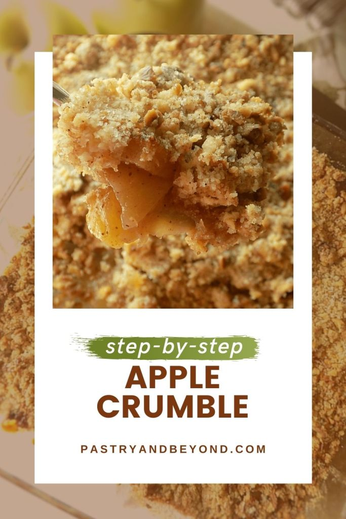 Apple crumble on a spoon.