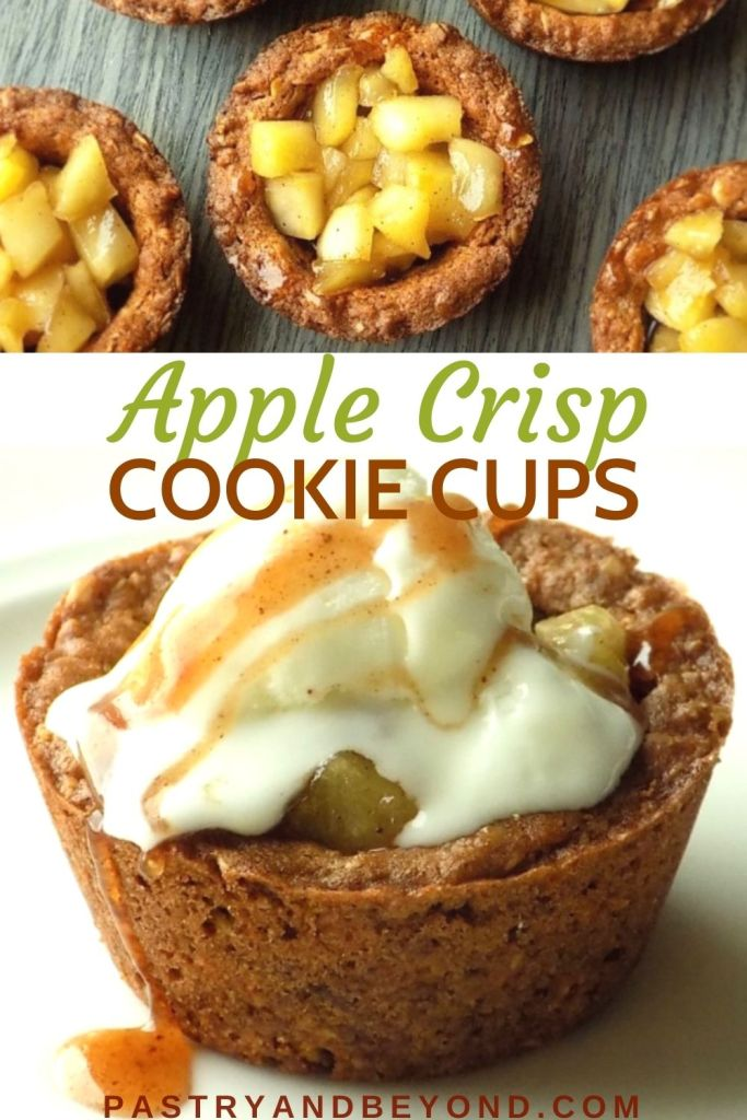 Apple crisp cookie cups and one cookie cup with ice cream on top.