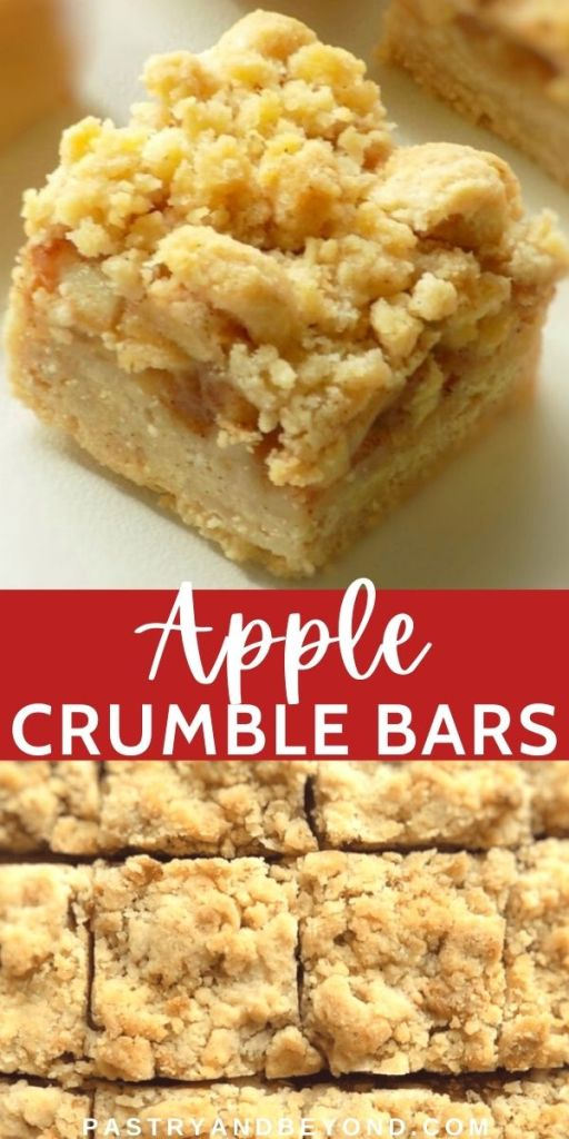 Pin for apple crumble bars from different angels.