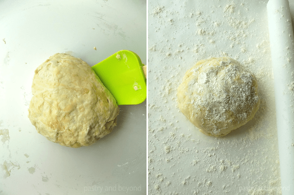Dough in a bowl with green spatula in the first photo. Dough floured on top, floured rolling pin and floured surface in the second photo.