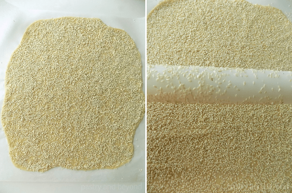 Collage of rolled out dough with sesame on top and rolling pin with sesame on top.