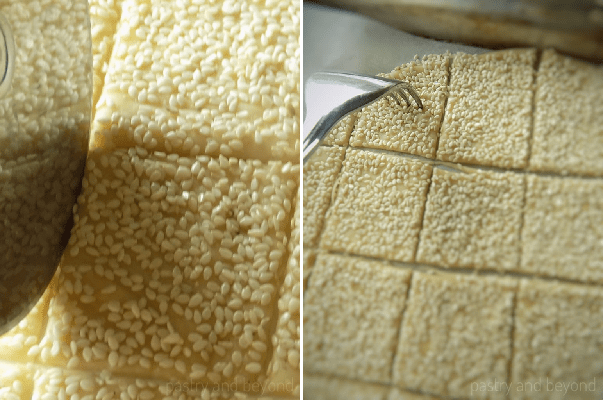 Cutting the dough into squares with a pizza cutter in the first photo, pricking the dough with a fork in the second photo.