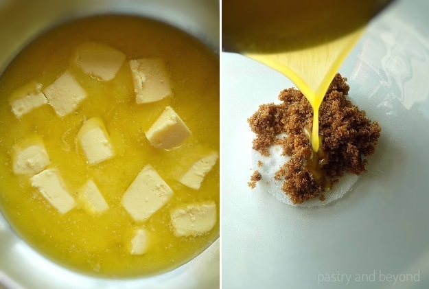 Halfway melted butter.  Melted butter is added into the white and brown sugar.