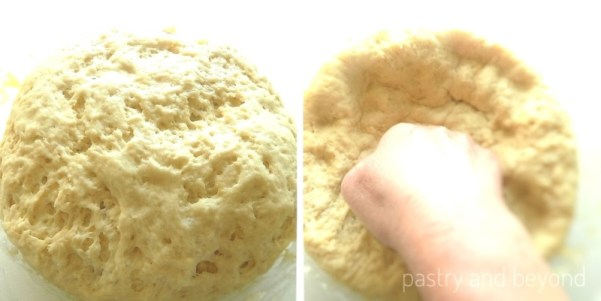 Knocking back the rised soft dinner roll dough.