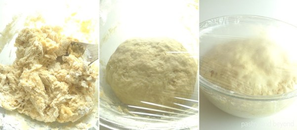 Mixed Soft Dinner Roll dough rise in a glass bowl covered with plastic film.