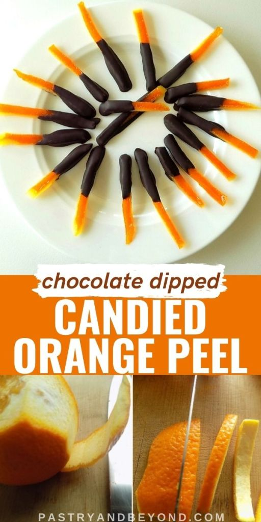 Chocolate dipped candied orange peels on a plate and showing the steps with text overlay.