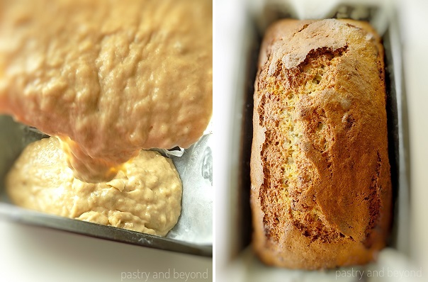 Pouring the banana bread dough into the pan in the 1st picture and baked banana bread in the 2nd picture.