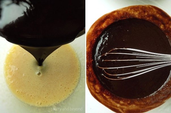 Step by Step Pictures of Brownie Batter: Butter-chocolate mixture is added into the egg mixture