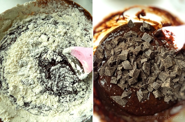 Step by Step Pictures of Brownie Batter: Flour and chocolate chunks are added into the mixture