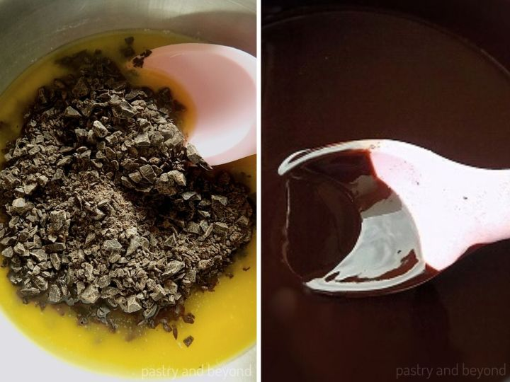 Collage of adding chopped chocolate into the melted butter and mixing with a spoon spatula.