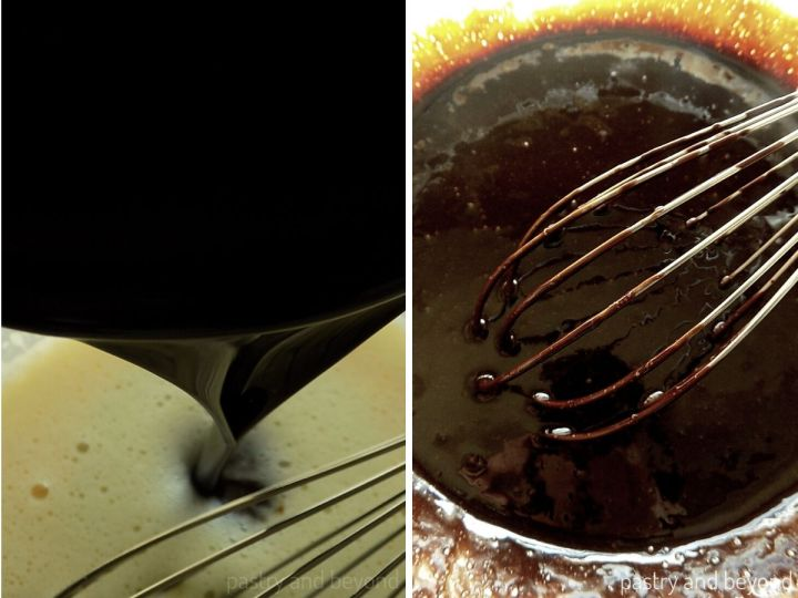 Collage of adding butter-chocolate mixture into the egg mixture and stirring.
