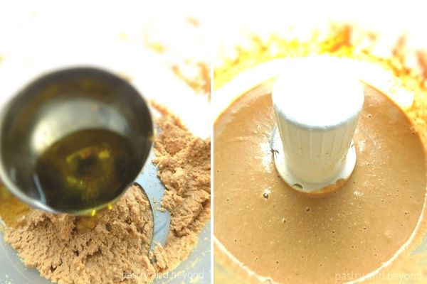 Adding olive oil into the processed thick sesame seeds and the consistency after processing.
