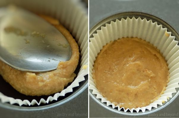 Step by Step Pictures of Homemade Peanut Butter Cups-Adding peanut butter over the melted chocolate.