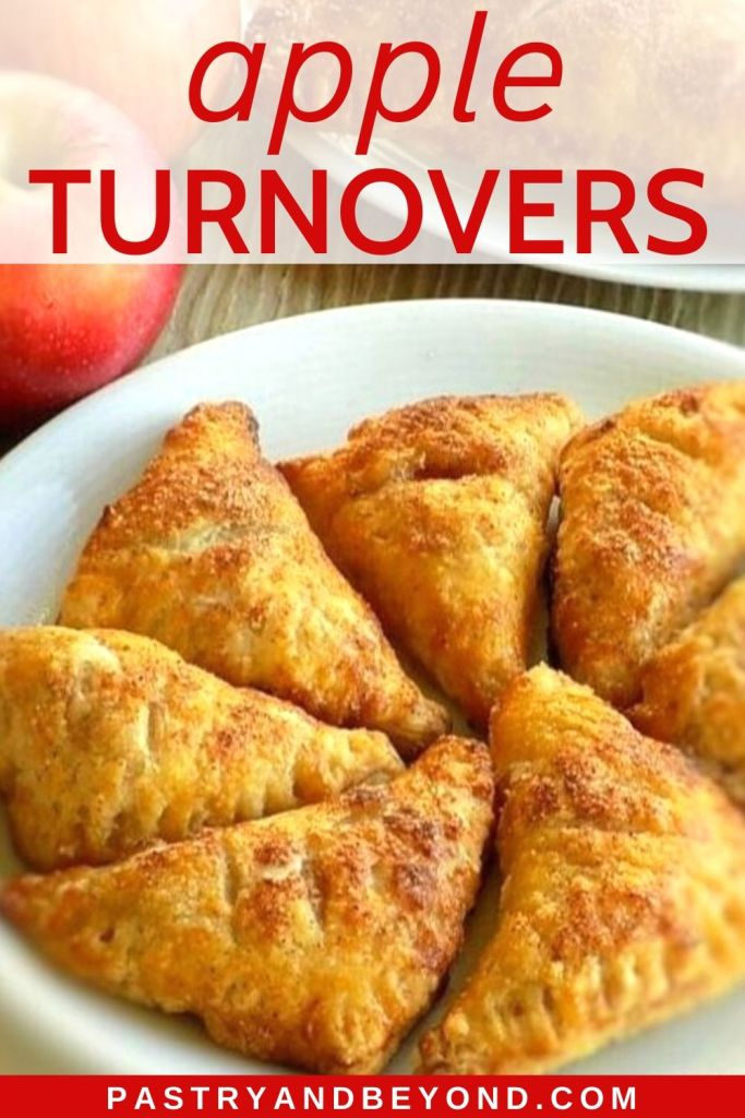 Pin showing mini apple turnovers on a white plate