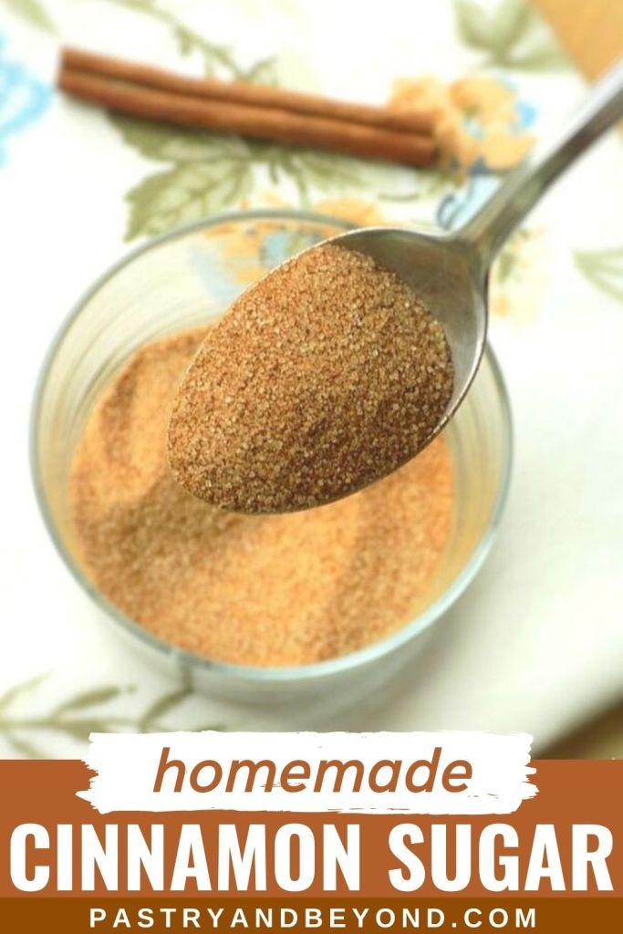 Cinnamon sugar on a spoon with text overlay.