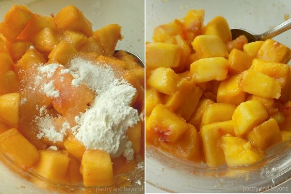 Peach Bars step by step: Adding cornstarch and sugar on to the peaches and mixing them.