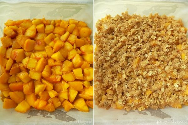 Peaches over the crust and the crumbles over the peaches.