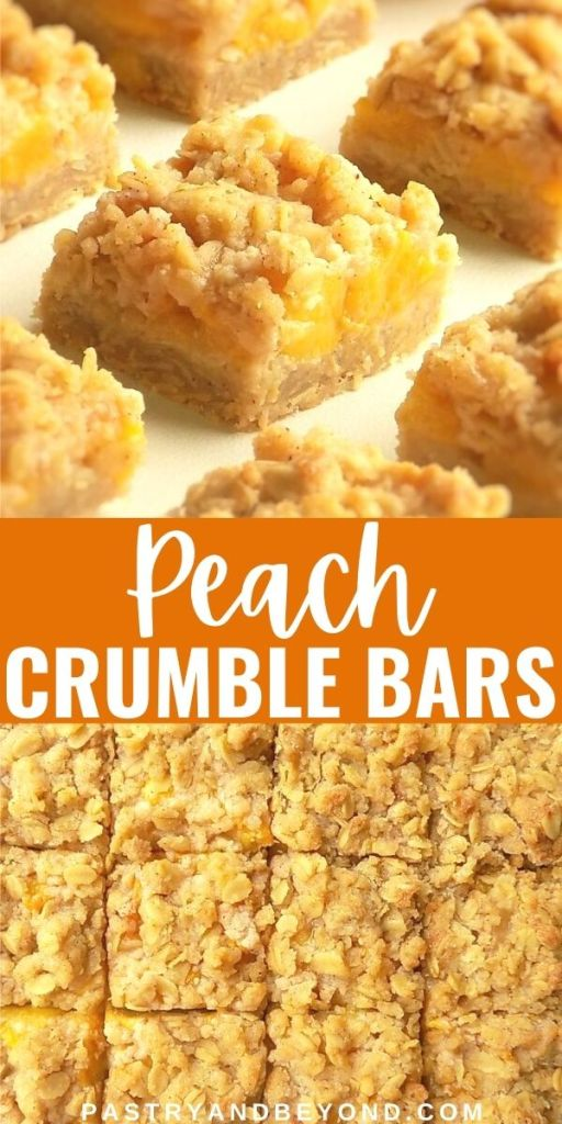Peach crumble bars with text overlay.