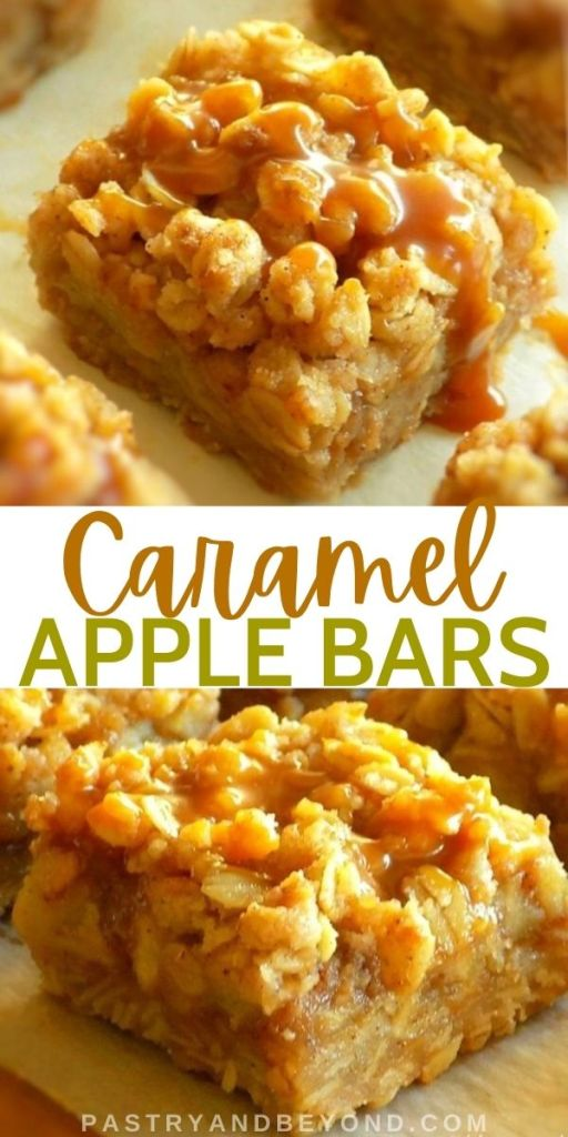 Overhead and side views of caramel apple bars.