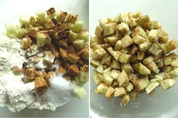 Caramel Apple Bars step by step pictures: Tossing the apples with cinnamon, nutmeg, flour and sugar.