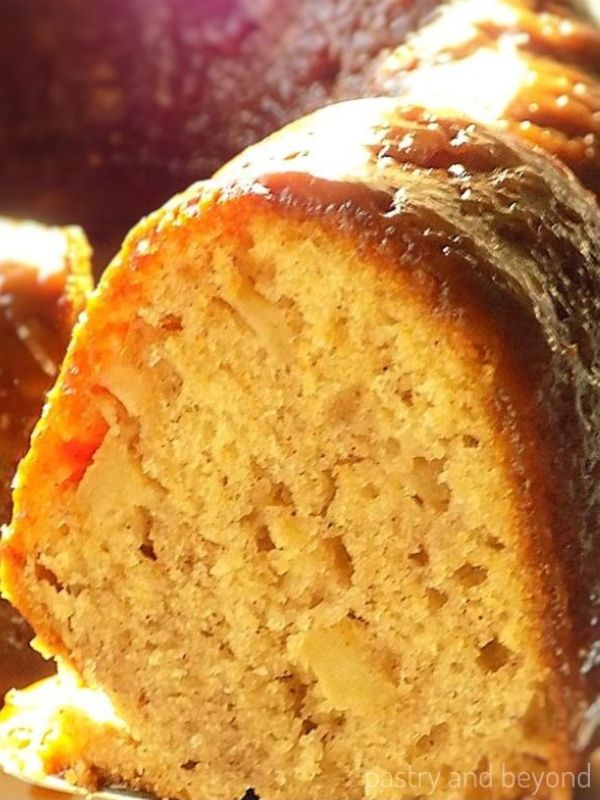A Slice of Caramel Apple Bundt Cake