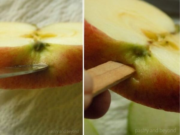 Make a small slit to the bottom of the apple slice to insert the stick.