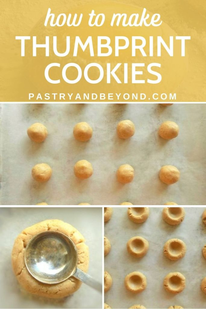 Process of making thumbprint cookies with text overlay.