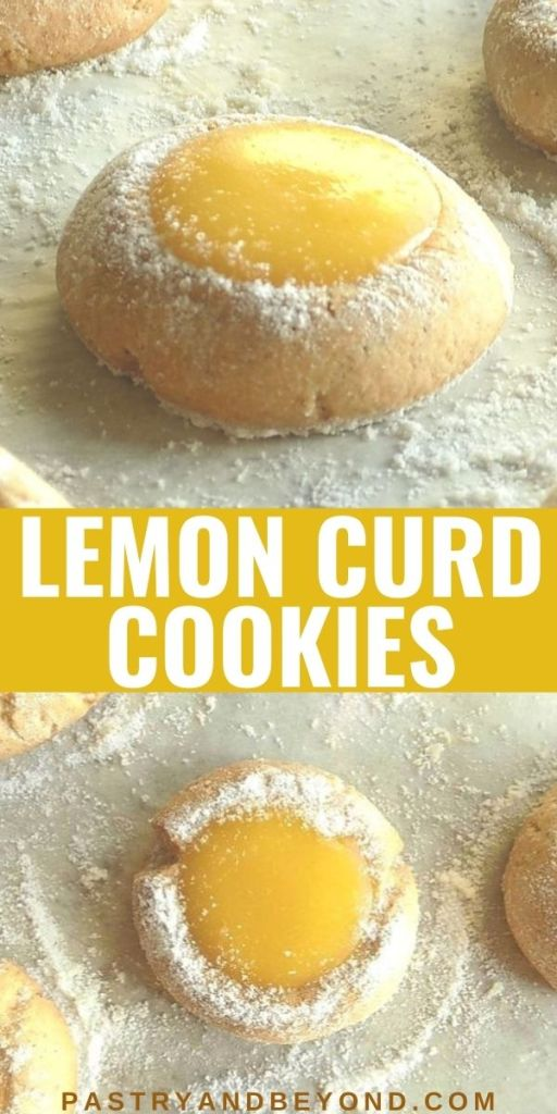 Lemon curd cookies with text overlay.