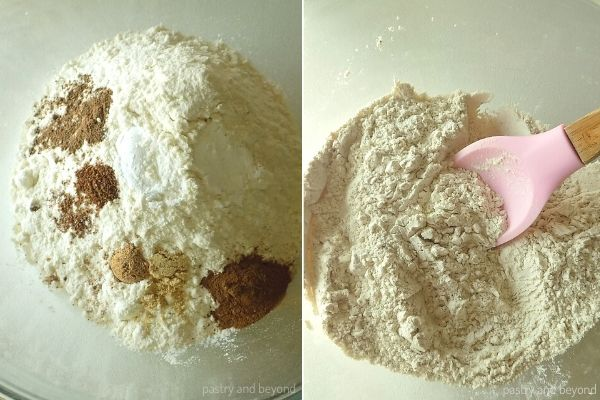 Pumpkin Bread step by step: Mixing the flour, baking powder, cinnamon, nutmeg, ginger, allspice, cloves and salt in a bowl.