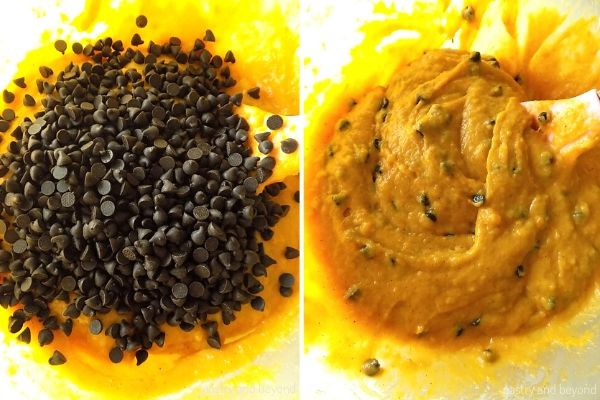 Pumpkin Bread step by step: Folding the chocolate chips into the mixture.